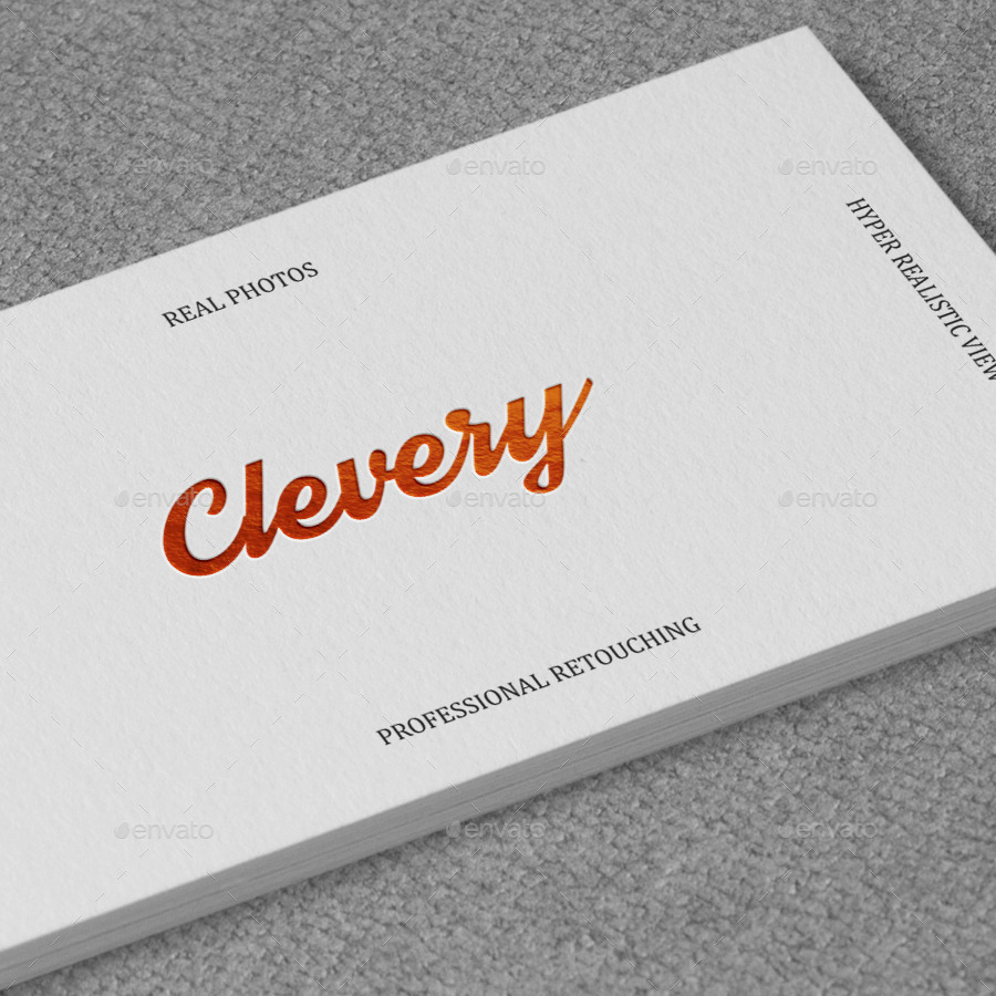 Photorealistic Business Card Mockup // White | Emboss by Clevery ...