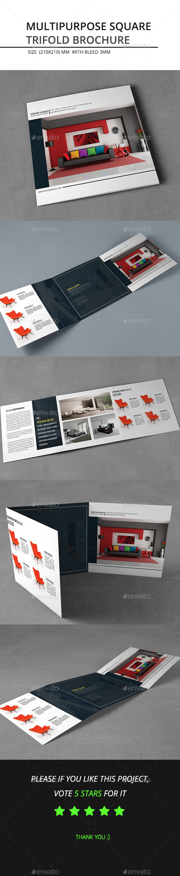 Multipurpose Square Trifold Brochure - Catalogs Brochures