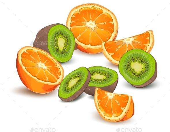 Orange and Kiwi - Food Objects