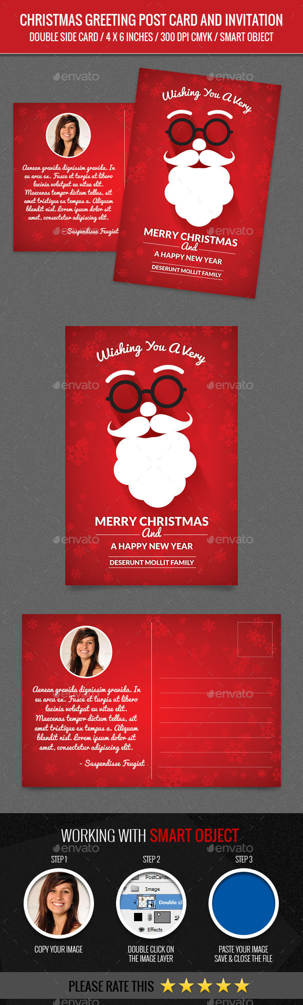 Christmas Greeting and New Year Post Card Template - Greeting Cards Cards & Invites