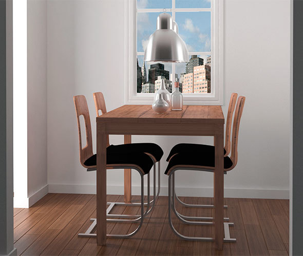 Wooden Dining Table And Chairs - 3DOcean Item for Sale