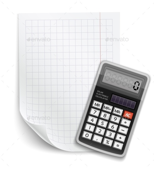 Blank Sheet of Paper with Claculator - Objects Vectors