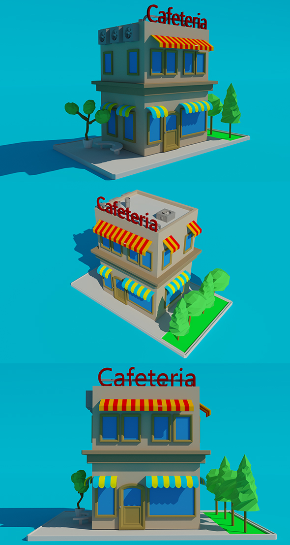 Low Poly Cafeteria - 3DOcean Item for Sale