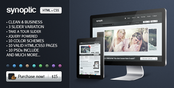 Free Download Synoptic Premium HTML & CSS3 Template Nulled Latest Version