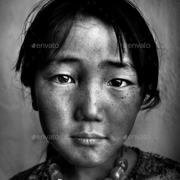 Portrait Mongolian Girl Western Mongolia Solitude Concept - Stock Photo - Images