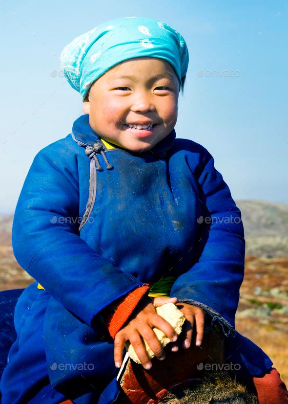 Young Tsaatan Girl Beautiful Northern Mongolia Concept - Stock Photo - Images