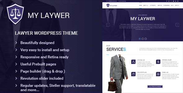 MyLawyer – Lawyer Attorney WordPress Theme