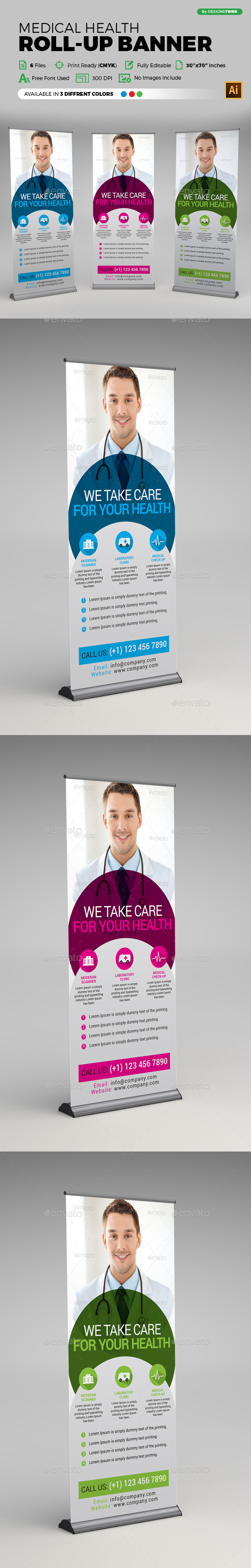 Medical Health Rollup Banner - Signage Print Templates