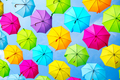 Hanging multicolored umbrellas over blue sky - PhotoDune Item for Sale