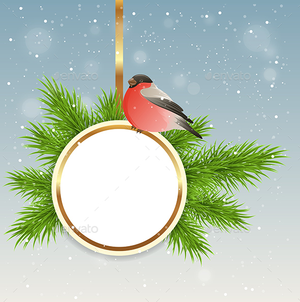 Christmas Background with Round Banner - Christmas Seasons/Holidays