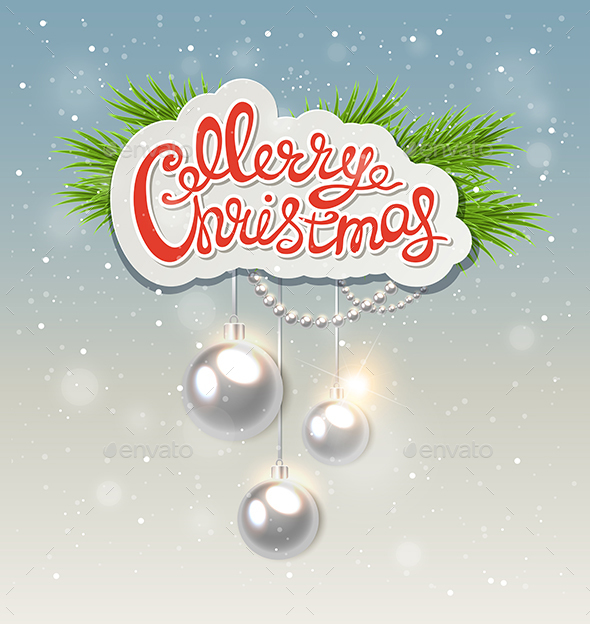 Greeting Inscription and Silver Decorations - Christmas Seasons/Holidays