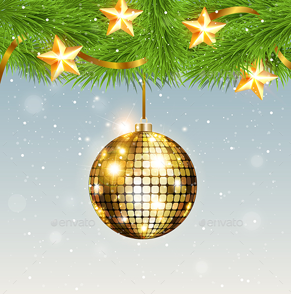 Shining Golden Decoration and Stars - Christmas Seasons/Holidays