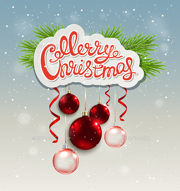 Christmas Background with Greeting Inscription - Christmas Seasons/Holidays