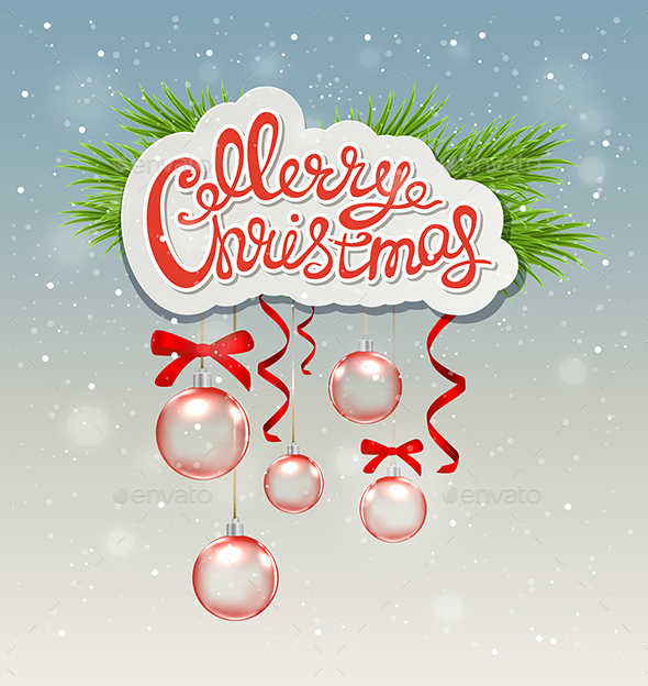 Greeting Inscription and Red Decorations - Christmas Seasons/Holidays