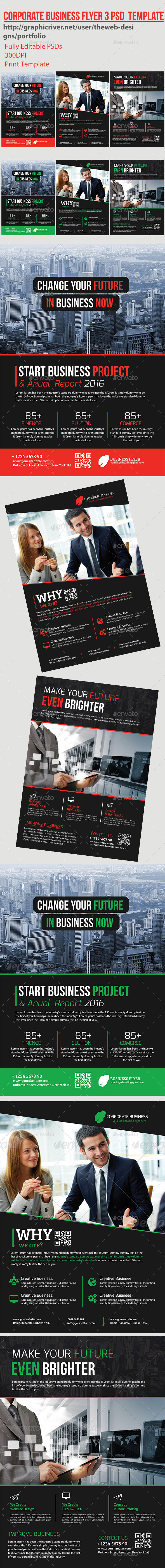 Corporate Business Flyers 3 Psd Template - Flyers Print Templates