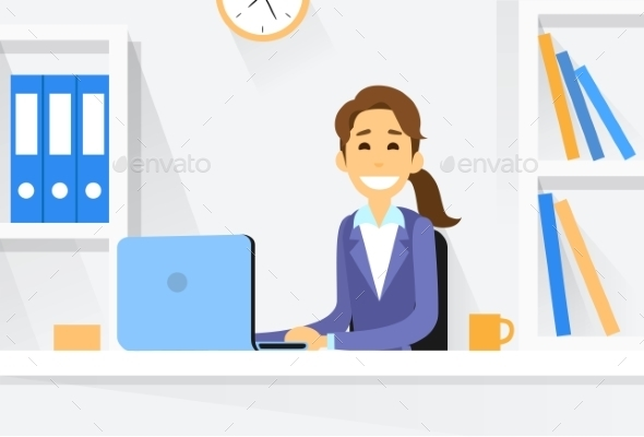 Business Woman Sitting at Desk in Office Working - Concepts Business
