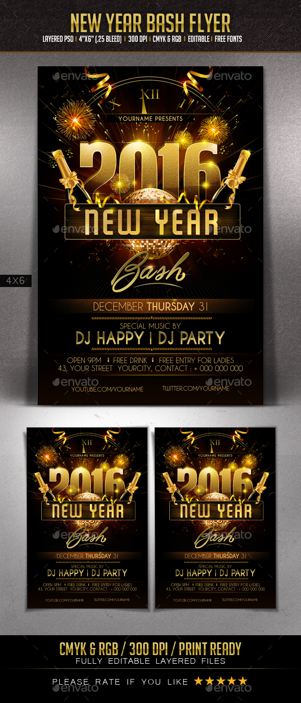 New Year Bash Flyer - Events Flyers