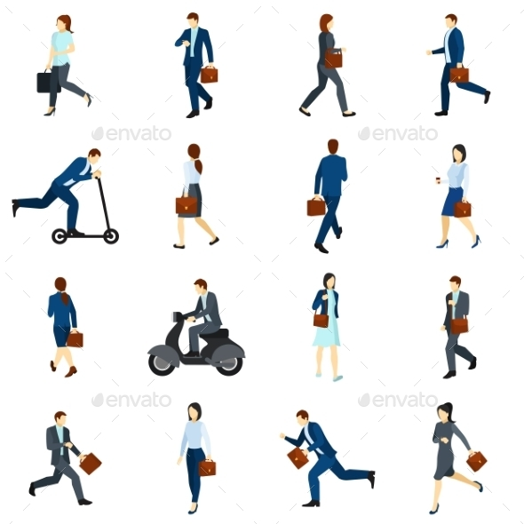 Businesspeople Going To Work Flat Icons  Set - People Characters