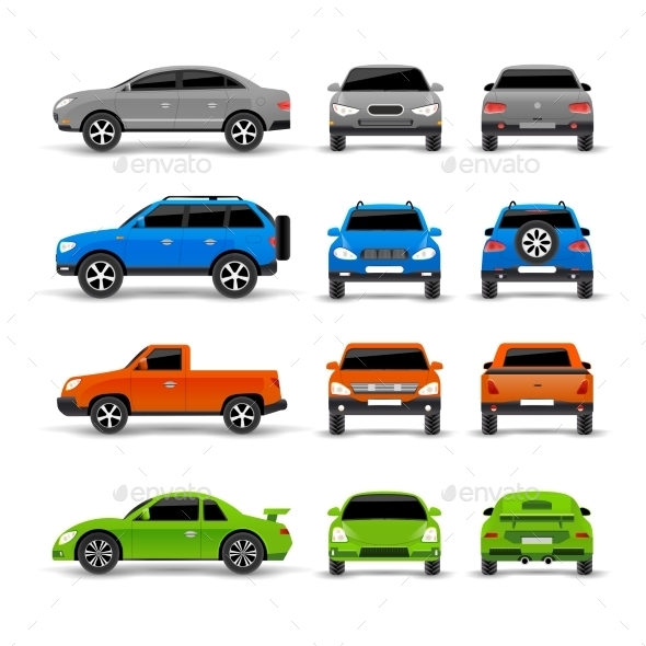 Cars Side Front And Back Icons Set