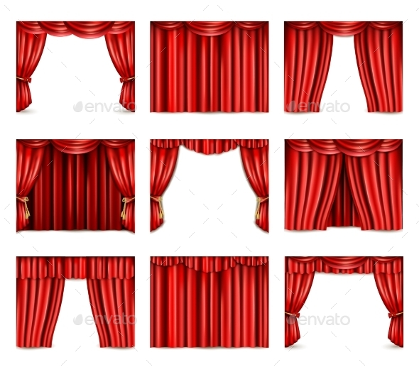 Theatre Curtain Icons Set - Man-made Objects Objects