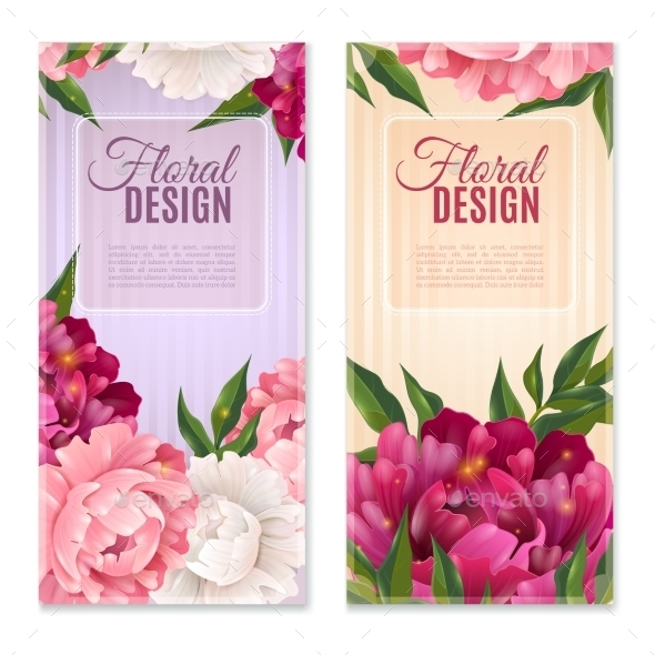 Floral Design Banners Set  - Flowers & Plants Nature
