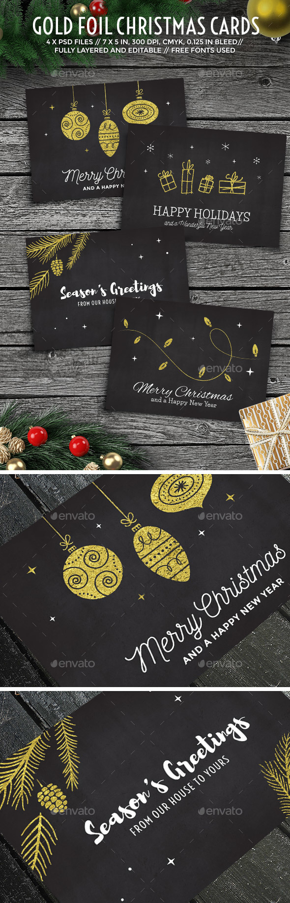 Gold Foil Christmas Cards - Holidays Events