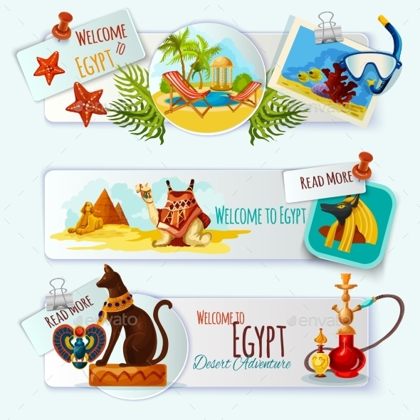 Egypt Touristic Banner Set - Nature Conceptual