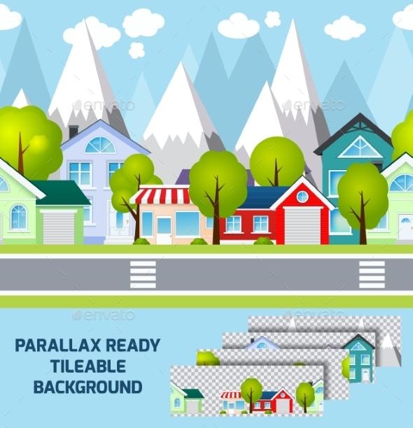 Provincial Town Landscape Parallax Ready - Backgrounds Decorative