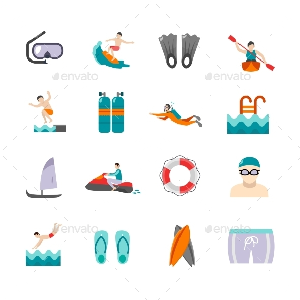Swimming Icons Set - Sports/Activity Conceptual