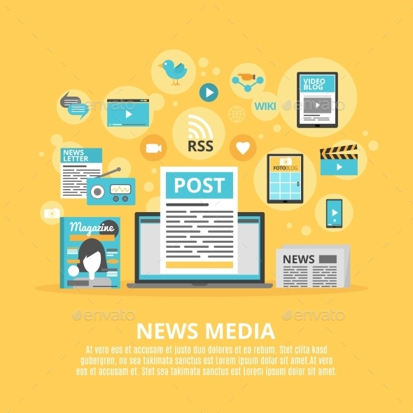 News Media Flat Icons Composition Poster - Communications Technology