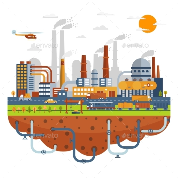 Industrial City Concept With Chemical Plants - Industries Business