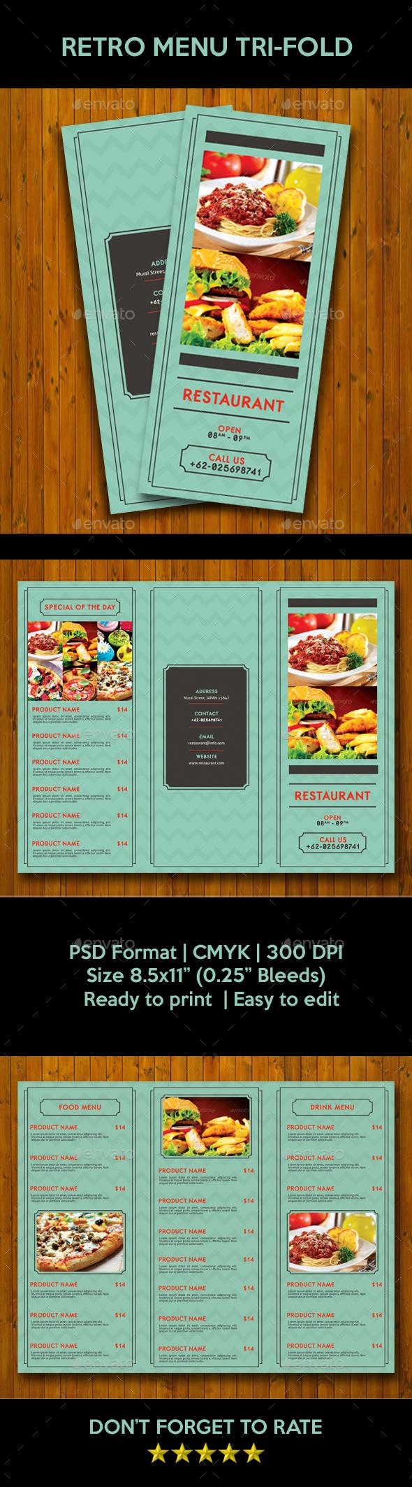 Retro Trifold Menu - Food Menus Print Templates