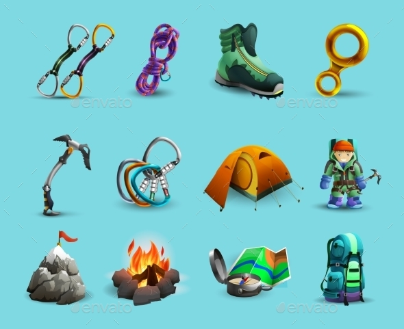 Alpine Mountains Climbing 3d Icons Set - Objects Icons