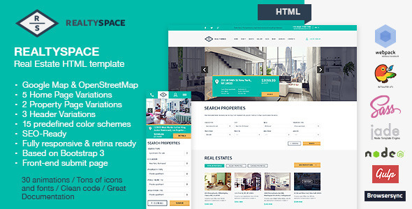Realtyspace – Real Estate HTML Template