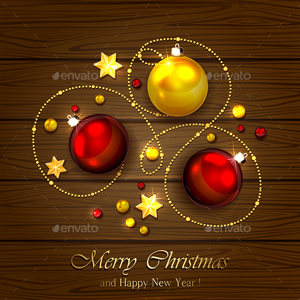 Christmas Elements on Wooden Background - Christmas Seasons/Holidays