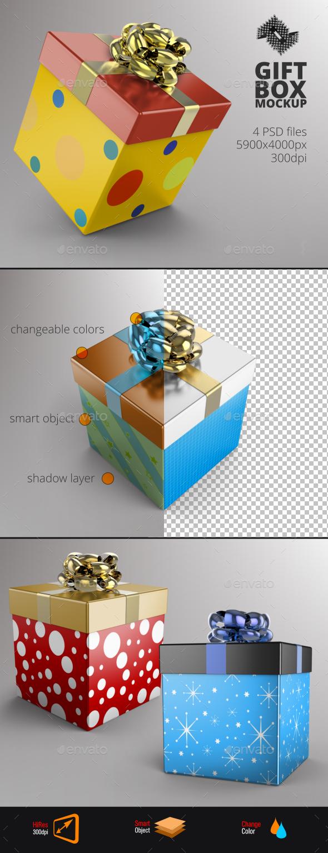 Square Gift Box Mockup - Product Mock-Ups Graphics