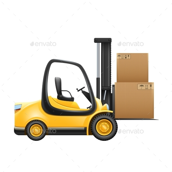 Lift Truck with Box - Man-made Objects Objects