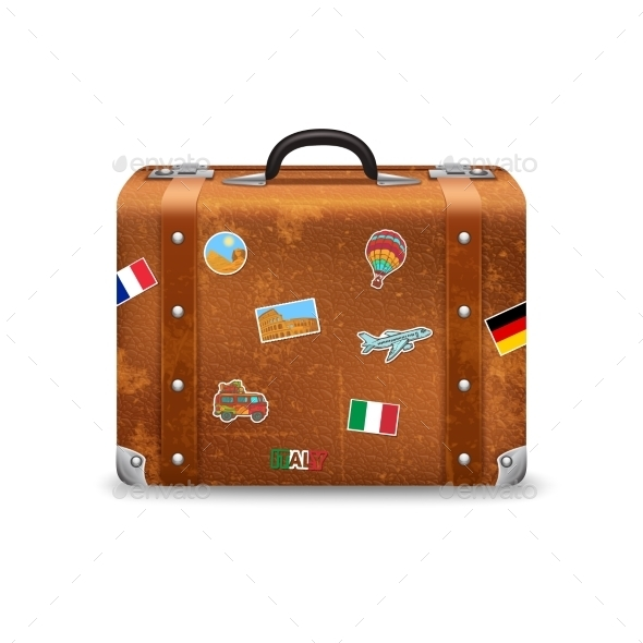 Old Suitcase With Travel Stickers - Travel Conceptual