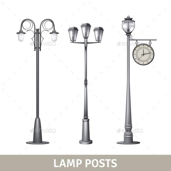 Lamp Post Set - Decorative Vectors