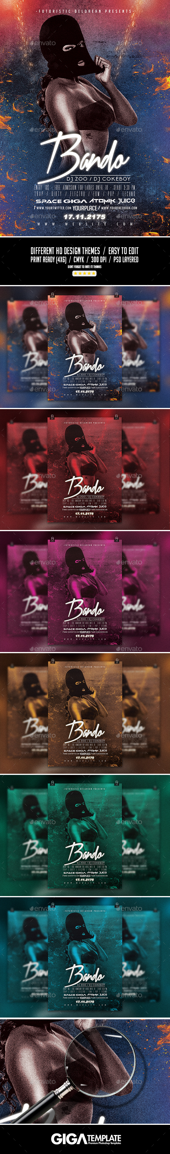 Bando 2 | Futuristic Dope Movie Flyer PSD Template - Events Flyers