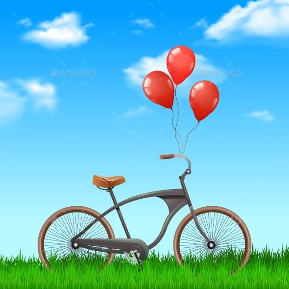 Bicycle With Balloons - Miscellaneous Vectors