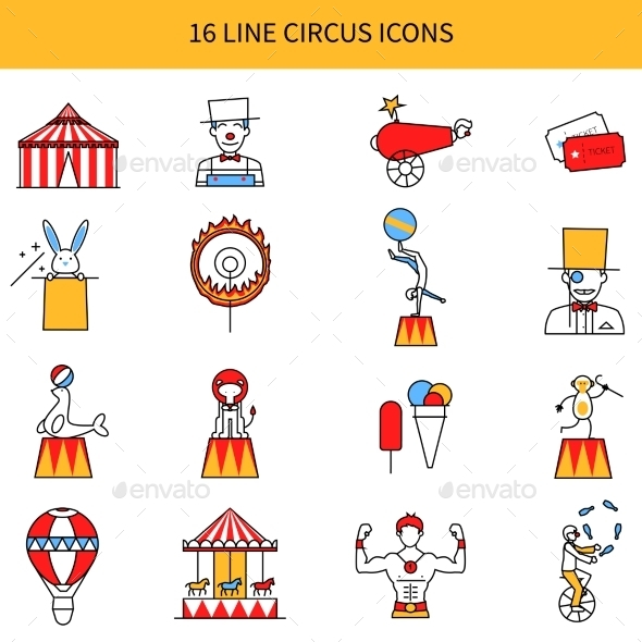 Circus Line Icons Set - People Characters