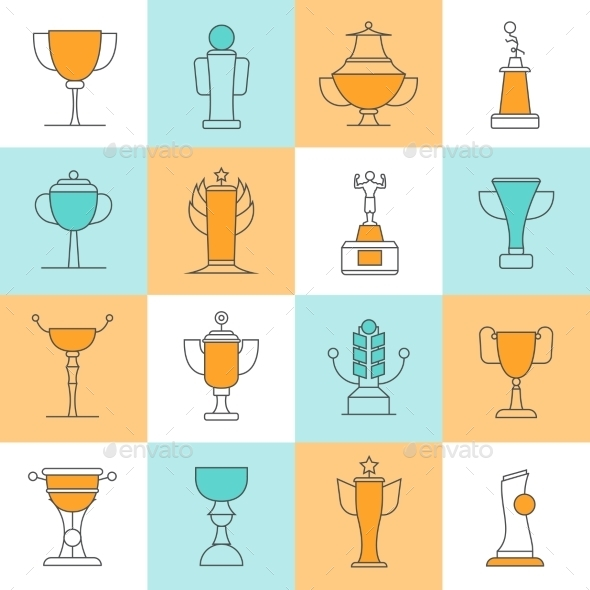 Awards Line Icons Set - Man-made objects Objects