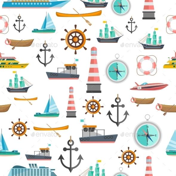 Nautical Symbols Vintage Seamless Pattern  - Patterns Decorative