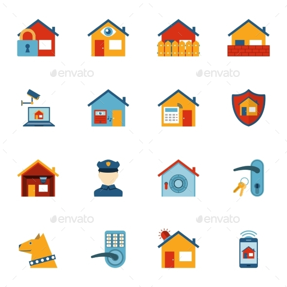 Smart Home Security System Flat Icons Set - Technology Icons