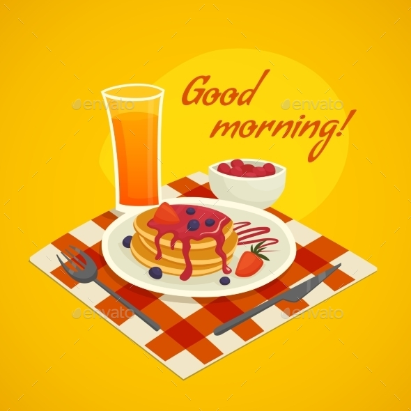 Breakfast Design Concept With Good Morning Wishing - Food Objects