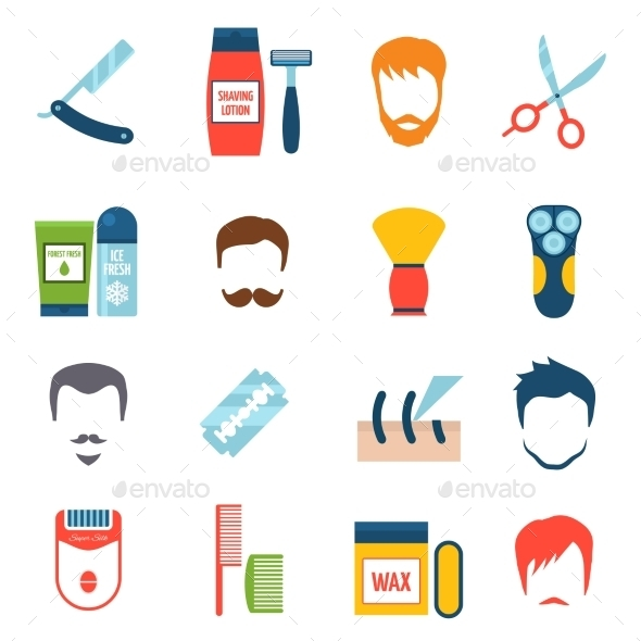 Shaving Icons Set - Man-made objects Objects