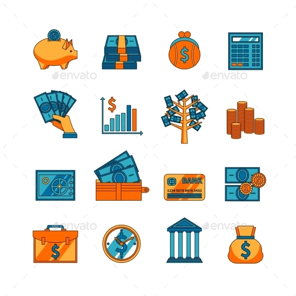Finance Business Flat Icons Set  - Business Icons