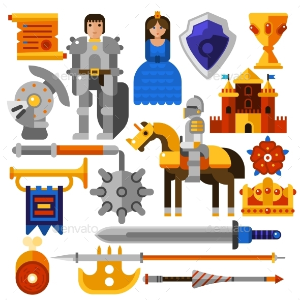 Flat Knight Icons Set - Miscellaneous Conceptual