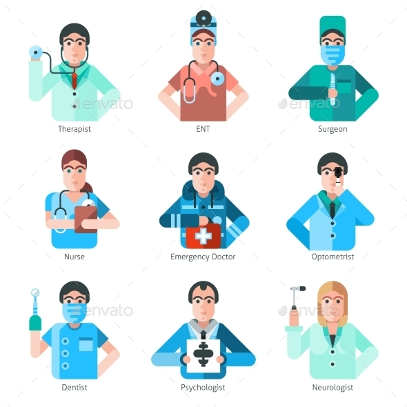 Doctor Character Icons Set - People Characters